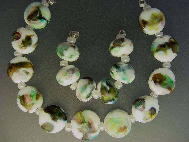 Art: BG Morrow LAMPWORK Handmade Glass Art 17 Beads D110 SRA by Artist Bonnie G Morrow