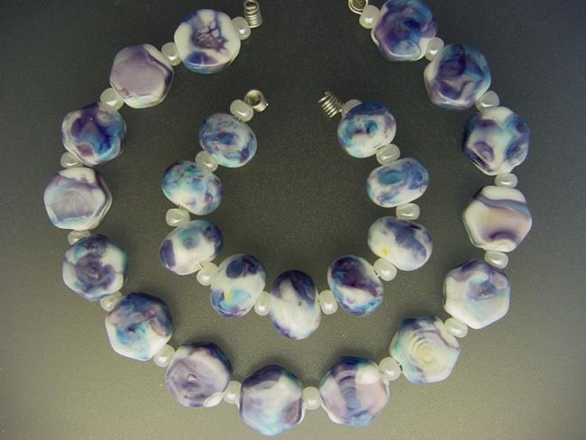 Art: BG Morrow LAMPWORK Handmade Glass Art 24 Beads D105 SRA   by Artist Bonnie G Morrow