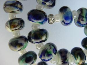 Detail Image for art BG Morrow LAMPWORK Handmade Glass Art 27 Beads D177 SRA