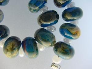 Detail Image for art BG Morrow LAMPWORK Handmade Glass Art 15 Beads D182 SRA