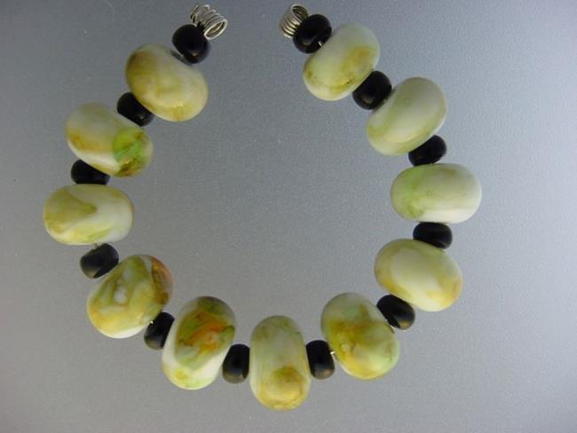 Art: BG Morrow LAMPWORK Handmade Glass Art 11 Beads D183 SRA by Artist Bonnie G Morrow