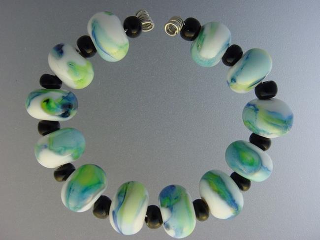 Art: BG Morrow LAMPWORK Handmade Glass Art 12 Beads D192 SRA by Artist Bonnie G Morrow