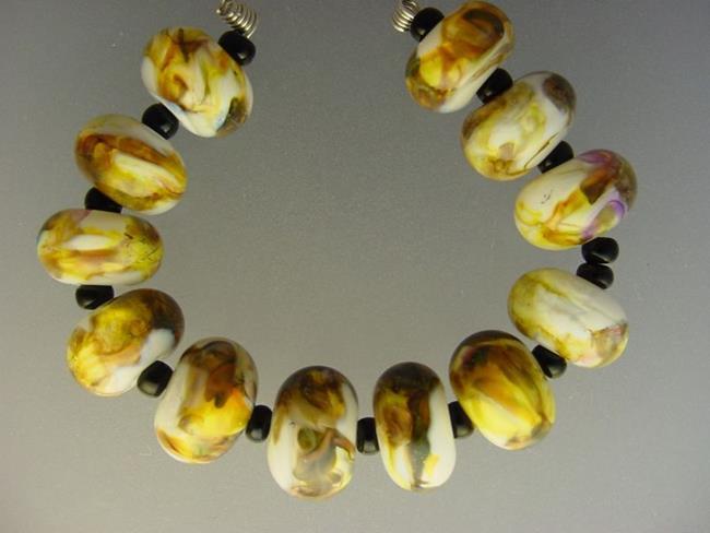 Art: BG Morrow LAMPWORK Handmade Glass Art 12 Beads D224 SRA  by Artist Bonnie G Morrow