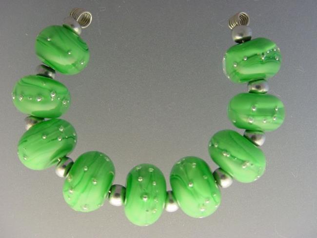 Art: BG Morrow LAMPWORK Handmade 12mm Glass 9 Beads D209 SRA by Artist Bonnie G Morrow