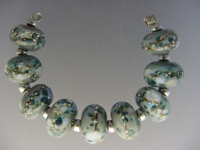 Art: BG Morrow LAMPWORK Handmade Glass Art 9 Beads D208 SRA  by Artist Bonnie G Morrow