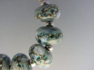 Detail Image for art BG Morrow LAMPWORK Handmade Glass Art 9 Beads D208 SRA