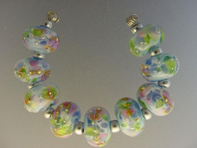 Art: BG Morrow LAMPWORK Handmade Glass Art 9 Beads D207 SRA   by Artist Bonnie G Morrow