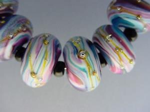 Detail Image for art BG Morrow LAMPWORK Handmade Glass Art 10 Beads D261 SRA