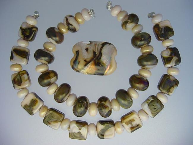 Art: BG Morrow LAMPWORK Handmade Glass Art 53 Beads D37 SRA   by Artist Bonnie G Morrow