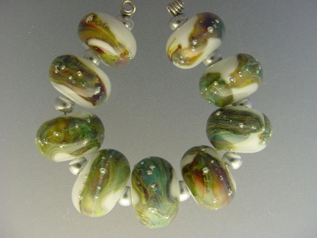 Art: BG Morrow LAMPWORK Handmade Glass Art 9 Beads D223 SRA by Artist Bonnie G Morrow