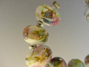Detail Image for art BG Morrow LAMPWORK Handmade Glass Art 9 Beads D202 SRA
