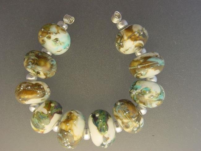 Art: BG Morrow LAMPWORK Handmade Glass Art 10 Beads D199 SRA by Artist Bonnie G Morrow