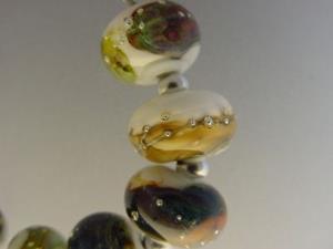 Detail Image for art BG Morrow LAMPWORK Handmade Glass Art 9 Beads D198 SRA