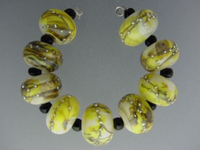 Art: BG Morrow LAMPWORK Handmade 13-14mm Glass 9 Beads D357   by Artist Bonnie G Morrow