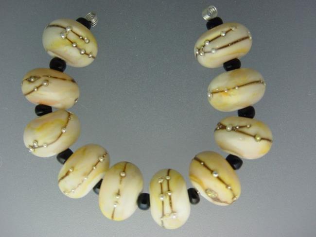 Art: BG Morrow LAMPWORK Handmade ART Glass 10 Beads D383 SRA by Artist Bonnie G Morrow