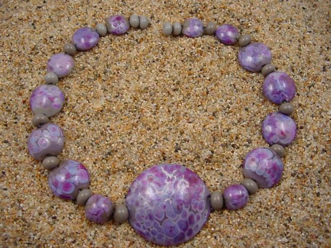 Art: Ambrosia Glass *PURPLE RAIN* Handmade Lampwork Beads - SOLD by Artist Bonnie G Morrow