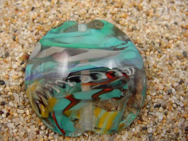 Art: Ambrosia Glass *CARRIBEAN DIVE* Handmade Lampwork FOCAL Bead - SOLD by Artist Bonnie G Morrow