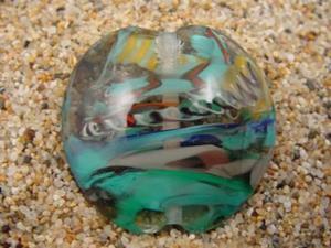Detail Image for art Ambrosia Glass *CARRIBEAN DIVE* Handmade Lampwork FOCAL Bead - SOLD