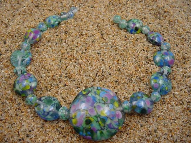 Art: Ambrosia Glass *SPRING SKY* Handmade Lampwork Beads - SOLD by Artist Bonnie G Morrow