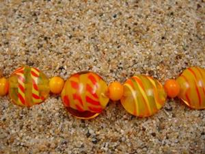 Detail Image for art Ambrosia Glass *SUMMER SUN* Handmade Lampwork Beads - SOLD