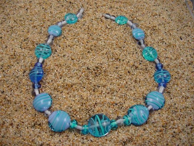 Art: Ambrosia Glass *BLUE WAVES* Handmade Lampwork Beads - SOLD by Artist Bonnie G Morrow