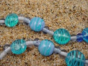 Detail Image for art Ambrosia Glass *BLUE WAVES* Handmade Lampwork Beads - SOLD