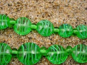 Detail Image for art Ambrosia Glass *SEAS OF GREEN* Handmade Lampwork Beads - SOLD