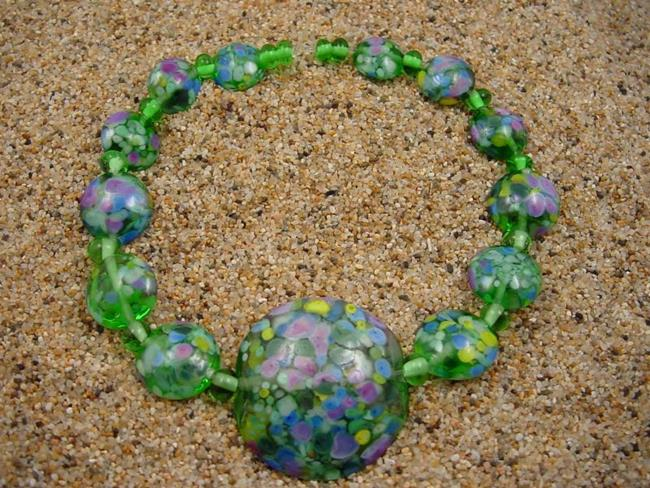 Art: Ambrosia Glass *FIELD OF FLOWERS* Handmade Lampwork Beads - SOLD by Artist Bonnie G Morrow