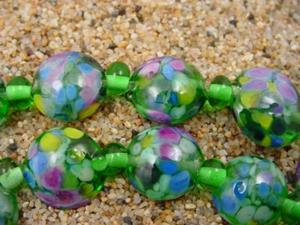 Detail Image for art Ambrosia Glass *FIELD OF FLOWERS* Handmade Lampwork Beads - SOLD