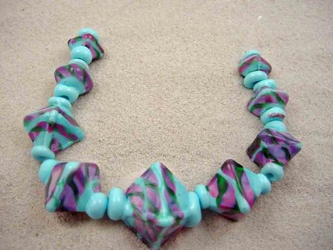 Art: Ambrosia Glass *CLEAR SKIES* Handmade Lampwork 9 Beads - SOLD by Artist Bonnie G Morrow