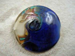 Detail Image for art Ambrosia Glass *ROLLING WAVES* Handmade Lampwork FOCAL Bead - SOLD
