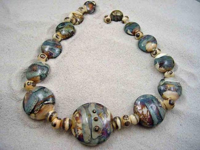 Art: Ambrosia Glass *SANDY SHORES* Handmade Lampwork 31 Beads - SOLD by Artist Bonnie G Morrow