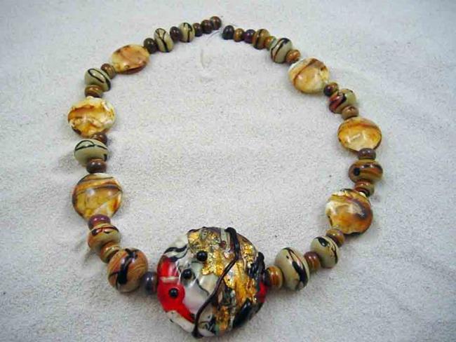 Art: Ambrosia Glass *GOLDEN ORIENT* Handmade Lampwork 31 Beads - SOLD by Artist Bonnie G Morrow