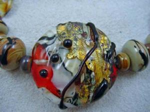 Detail Image for art Ambrosia Glass *GOLDEN ORIENT* Handmade Lampwork 31 Beads - SOLD