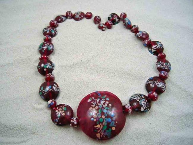 Art: Ambrosia Glass *RASPBERRY DELIGHT* Handmade Lampwork 33 Beads - SOLD by Artist Bonnie G Morrow