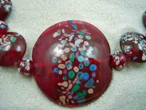 Detail Image for art Ambrosia Glass *RASPBERRY DELIGHT* Handmade Lampwork 33 Beads - SOLD