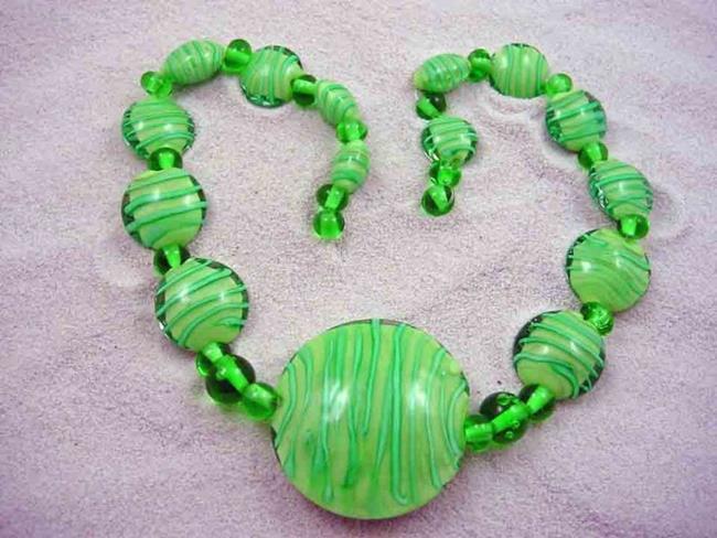 Art: Ambrosia Glass *FIELDS OF GRASS* Handmade Lampwork 37 Beads - SOLD by Artist Bonnie G Morrow