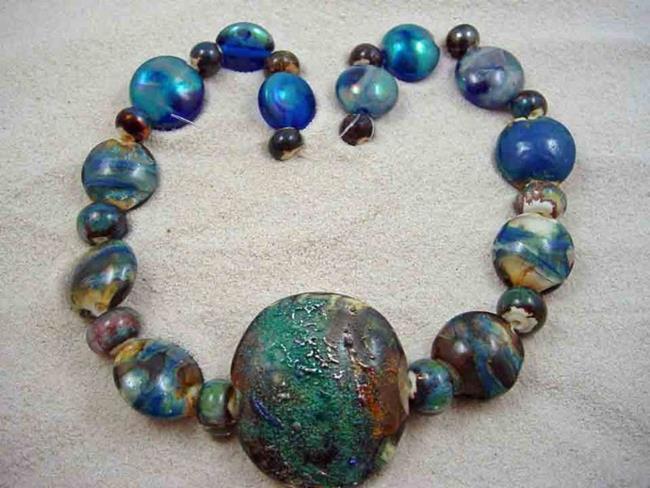 Art: Ambrosia Glass *RUSTIC SEAPORT* Handmade Lampwork 27 Beads - SOLD by Artist Bonnie G Morrow