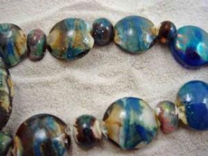 Detail Image for art Ambrosia Glass *RUSTIC SEAPORT* Handmade Lampwork 27 Beads - SOLD