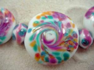 Detail Image for art Ambrosia Glass *SPRING DANCE* Handmade Lampwork 23 Beads - SOLD