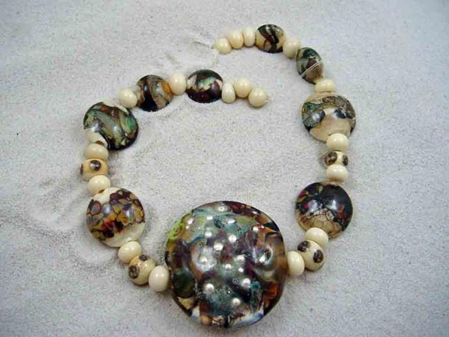 Art: Ambrosia Glass *BEACH COMBING* Handmade Lampwork 31 Beads - SOLD by Artist Bonnie G Morrow