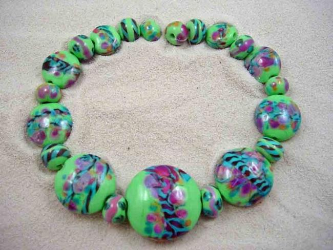 Art: Ambrosia Glass *SPRING PASSION* Handmade Lampwork 21 Beads - SOLD by Artist Bonnie G Morrow