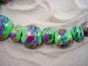 Detail Image for art Ambrosia Glass *SPRING PASSION* Handmade Lampwork 21 Beads - SOLD