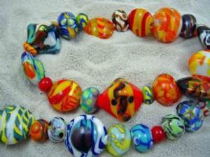 Detail Image for art Ambrosia Glass *BRIGHT ORPHANS* Handmade Lampwork 50 Beads - SOLD