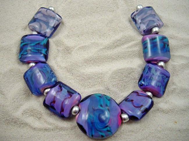 Art: Ambrosia Glass *VIOLETS* Handmade Lampwork 9 Beads - SOLD by Artist Bonnie G Morrow