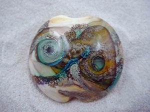 Detail Image for art Ambrosia Glass *SANDY REEFS* Handmade Lampwork FOCAL Bead - SOLD