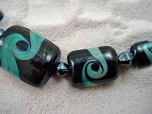Detail Image for art Ambrosia Glass *GAIA SWIRLS* Handmade Lampwork 9 Beads - SOLD