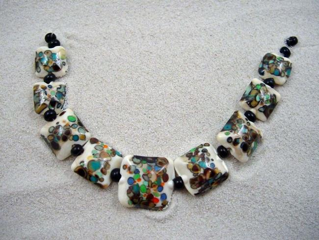 Art: Ambrosia Arts *SPECKLED PILLOWS* Handmade Lampwork 9 Beads - SOLD by Artist Bonnie G Morrow