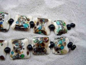 Detail Image for art Ambrosia Arts *SPECKLED PILLOWS* Handmade Lampwork 9 Beads - SOLD