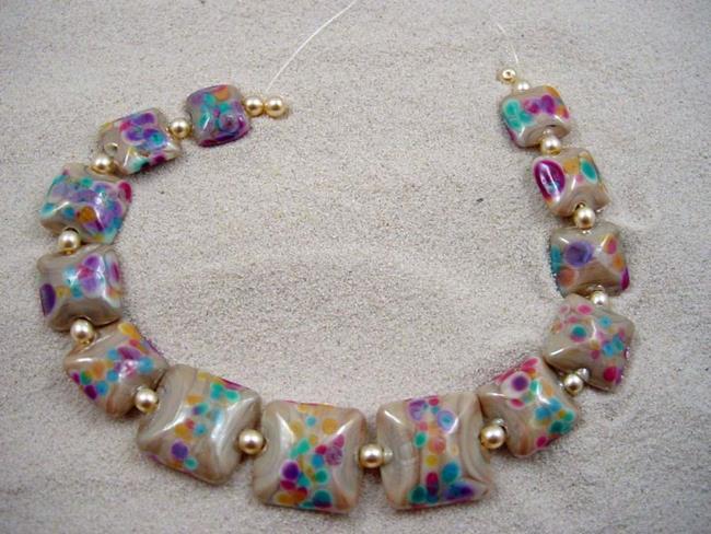 Art: Ambrosia Arts *DESERT BLOOMS* Handmade Lampwork 13 Beads - SOLD by Artist Bonnie G Morrow